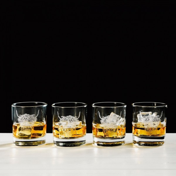 Highland Cow Engraved Glass Tumbler