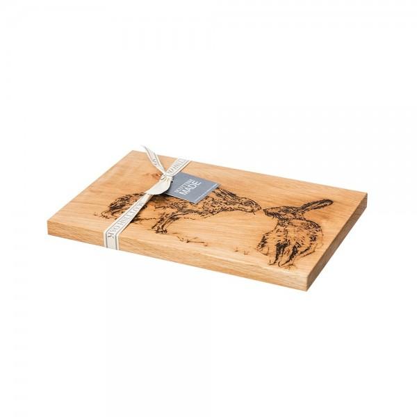 Kissing Hares Etched Oak Serving Board 30cm